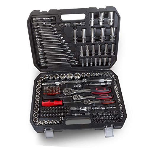 """Steckschlüssel Satz 215 teilig Knarrenkasten Ratschenkasten Werkzeugkoffer 1/2\"""", 3/8\"""" und 1/4\"""" Umschaltknarren Werkzeugkiste"""
