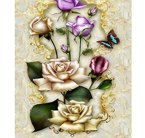 JINLXG Neuheiten 5D Diamant Malerei Blume Platz Voller Diamant 5D Rose Diamant Stickerei Harz Bohrer 40X50 cm Rahmenlose