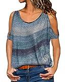 YOINS Sexy Schulterfrei Oberteil Damen Sommer Tshirt für Damen Tunika Off Shoulder Top Gestreift Pulli Hemd