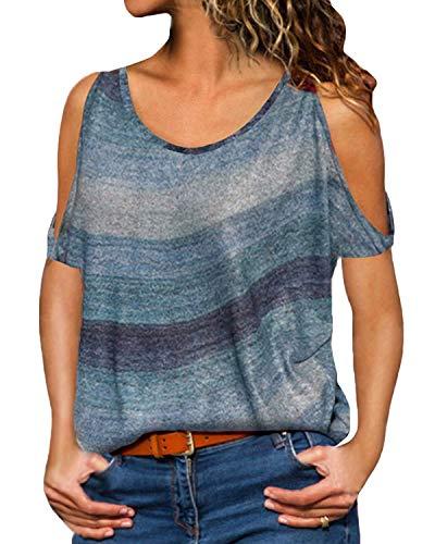 YOINS Sexy Schulterfrei Oberteil Damen Tshirt Sommer Oberteile Frauen Tunika Damen Tops Gestreift Pulli Lose Hemd (Kurzarm-blau, EU44) - Elegantes Shirt Hose