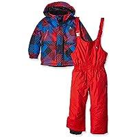 Peak Mountain Exop Conjunto de Ropa de esquí para niño, Traje, Niño, Color Negro/Rojo, tamaño 3 años (Talla del Fabricante: 3)