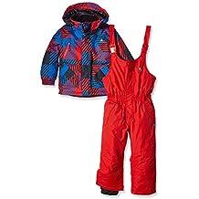 Peak Mountain Exop Conjunto de ropa de esquí para niño, traje, Niño, color negro/rojo, tamaño 5 años (talla del fabricante: 5)