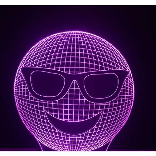 Geschenk Nachtlichter 3D Bunte Gradient Cool Laugh Sunglass Ausdruck Nachtlichter Led Stimmung Tisch Schreibtischlampe Kinder Geschenke Schlafzimmer Lampara Decor