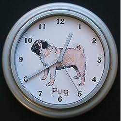 Perro Pug Reloj de pared de cuarzo