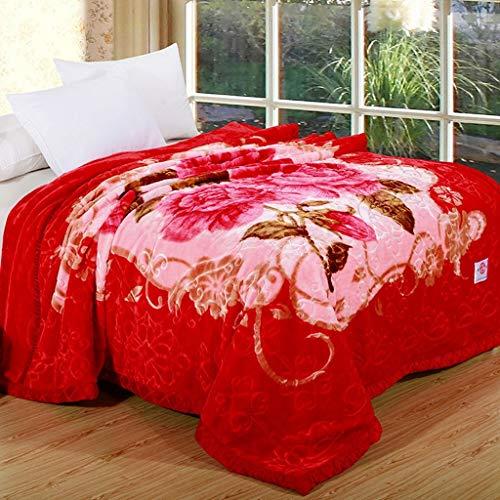 Ericcay Rote Blanket Raschel Decken Blumenmuster Casual Chic Weiche Und Bequeme Doppelte Isolierung Wolldecke (Größe 180 * 200Cm) (Color : Colour, Size : 200 * 230Cm)