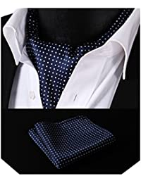HISDERN Men's Check Polka Dot Floral Jacquard Woven Ascot Set