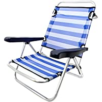 Silla Plegable con 4 Posiciones de Playa o Camping Azul de Aluminio Garden - LOLAhome