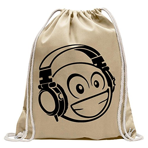 Kiwistar faccina sorridente con un casco divertente zaino sportivo per il fitness. gymbag per lo shopping in cotone con coulisse