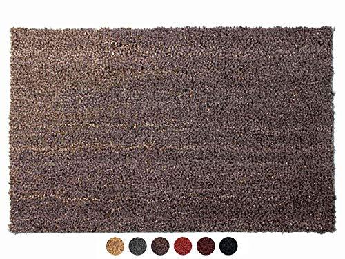 Primaflor - Ideen in Textil Kokosmatte Fussmatte Grau 60 x 100 cm Fußmatte Kokos Schmutzfangmatte Haustür Innen & Außen, Sauberlauf