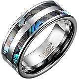 JewelryWe Schmuck 8mm Breite Wolframcarbid Herren-Ring Poliert mit Doppel Abalone Inlay Partnerringe Verlobung Hochzeit Band Größe 52 bis 75