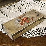 handmade4u Vintage Holz-Federkästchen, 22x8,5x4 cm Federmäppchen Federmappe Griffelkasten