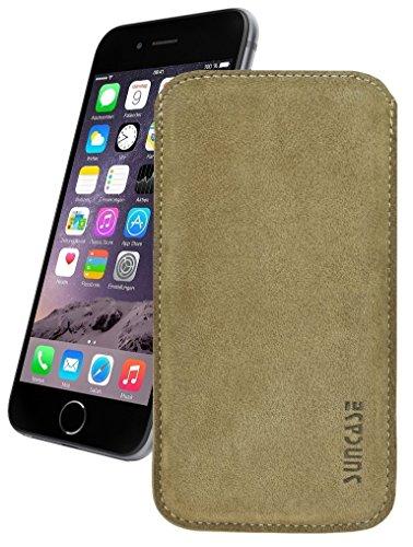 Original Suncase Tasche für iPhone 8 / iPhone 7 / iPhone 6s / iPhone 6 (4.7 Zoll) *Ultra Slim* Leder Etui Handytasche Ledertasche Schutzhülle Case Hülle (mit Zieh-Lasche) schwarz mit blauen Nähten beige-veloursleder