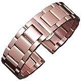 BONSTRAP Damen Uhrenarmband Edelstahl 18mm Roségold Armband Metall für 18mm Watch