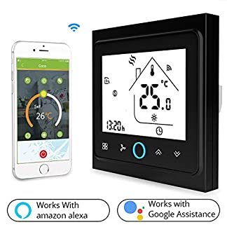 Snowsy WiFi Aire Acondicionado Termostato Programable Termostato LCD Monitor Temperatura Controlador Refrigeración Calefacción Termostato Compatible Alexa Google Home,Black
