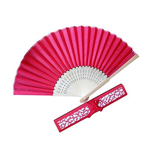 Splrit-MAN Damen Handfächer mit Geschenkbox Chinesischer Fächer Bambusgriff Handfächer Hochzeit Party Tanzen Fasching Hochzeitsgeschenk, Party Favors, DIY Dekoration