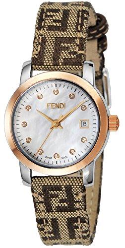 Fendi Women's Watch Round Classico White Pearl Dial Diamond F218242Df White