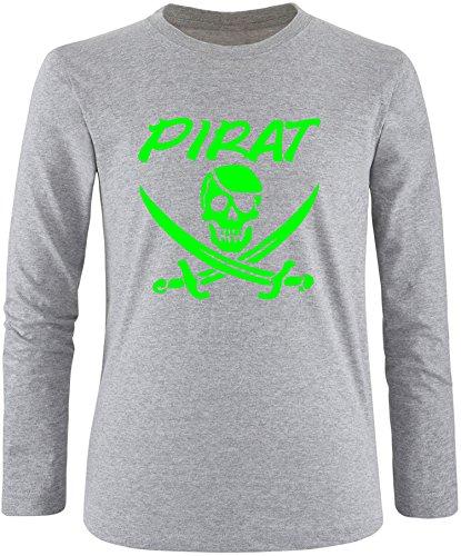 EZYshirt® Pirat Herren Longsleeve Grau/Neongrün