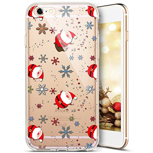 Custodia iPhone 5C,iPhone 5C Cover,SainCat Custodia in Morbida TPU Protettiva Cover per iPhone 5C,Creative Design Transparent Silicone Case Ultra Slim Sottile Morbida Transparent TPU Gel Cover Shock-A Babbo Natale della neve