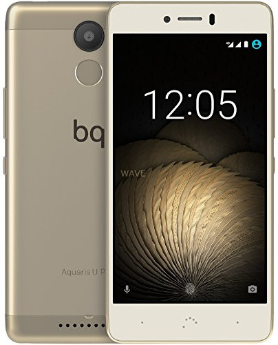 BQ Aquaris U Plus - Smartphone de 5'' (Bluetooth, Qualcomm Snapdragon 430 Octa Core, memoria de 16 GB, 2 GB RAM, cámara 16 MP, multitáctil,  Android 6.0.1 Marshmallow), blanco/dorado