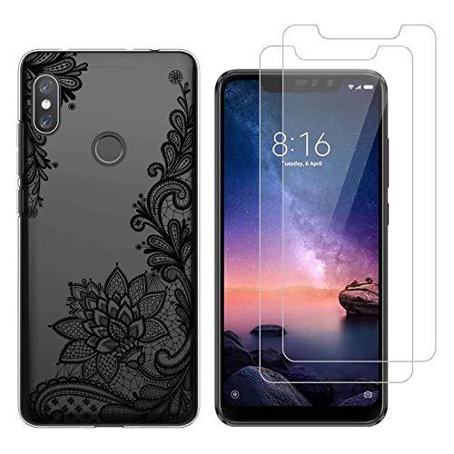 Funda Xiaomi Redmi Note 6 Pro De Encaje Negro Suave TPU Silicona Protector Trasero Carcasa para Xiaomi Redmi Note 6 Pro (6,26 Pulgada) con Dos Protector de Cristal Templado Film