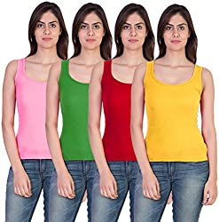 Combo of 4 Tank Top Vest Camisole Sando for Women Pink Green Red Yellow Color Medium Size