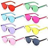 FSMILING Occhiali da sole rotondi senza montatura Occhiali lenti colorati Trasparente per festa e festival