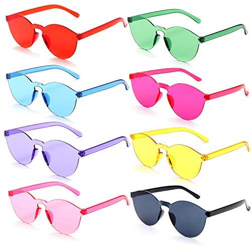 Spring Break Kostüm - FSMILING Ein Stück Randlos Rund Sonnenbrille Transparent Neon Farbig Getönte Brillen für Party und Festival