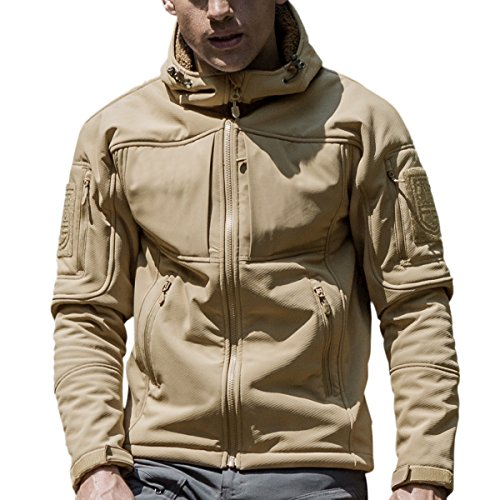 FREE SOLDIER Herren Wasserdicht Crew Midlayer Kapuzenjacke winddicht Wandern Ski Mountain Fleece Softshell Jacke (Braun XL) (Jacket Quilted Bubble)