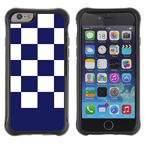 Graphic4You Kariert Muster Design Shockproof Anti-Rutsch Weichen Hülle Case Tasche Schutzhülle für Apple iPhone 6 Plus / 6S Plus (Rosa) Bleu Marin