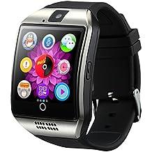 SHFY Q18 - Reloj inteligente con pantalla táctil Bluetooth y ranura para tarjeta TF/SIM con cámara para iOS, iPhone, Android, Samsung, rastreador de actividad, equipo de uso