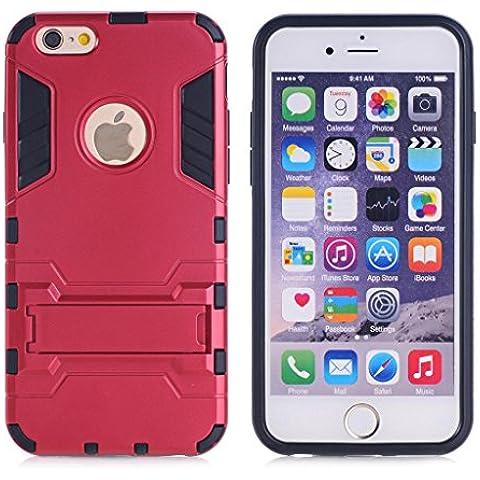 Cuitan 2 en 1 Doble capa híbrido Funda para iPhone 5S / 5 / 5G, TPU Suave Bumper y PC Duro Back Cover Built-in Soporte Diseño Armadura Protección Carcasa Caso Case con Pluma del Tacto para Apple iPhone 5S / 5 / 5G - Rojo
