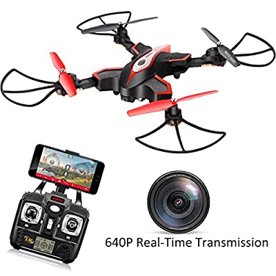 DoDoeleph RC Drone With HD FPV Camera Syma X56W Portable Folding 2.4Ghz 6-Axis Gyro Quadcopter RTF Helicopter Altitude Hold UFO Hover Function 3D Flips One key Home
