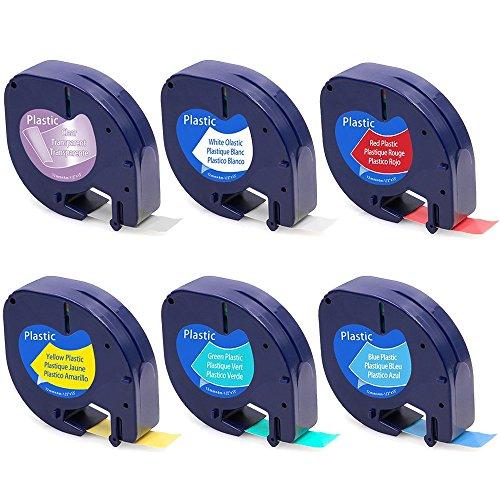 Wonfoucs 6 x Etikettenband für Dymo LetraTag, Kunststoff Schriftband (schwarz auf transparent/weiß/gelb/rot/grün/blau), Verwendet für LT-110T LT-100H QX 50 XR XM 2000 Plus, 12mm x 4m