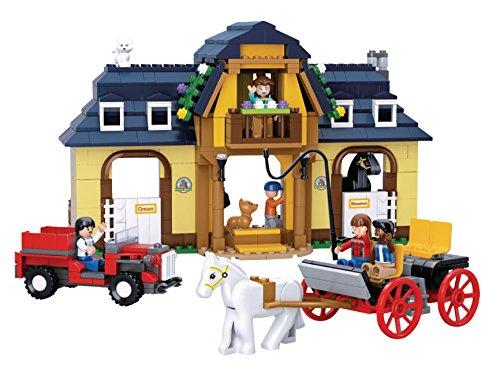 Funstones - Bausteine Bau Steine Pferde Hof Bauernhof Set + Kutsche + Traktor + Figuren + Pferde +++ Bau Steine (Lego City Bauernhof-tiere)