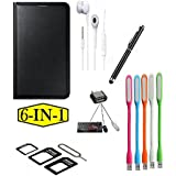 KTC Plus (6 In 1-Combo Offer ) Full Black Leather Flip Cover-Black Touch Sceen Pen-Sim Adapter-Handsfree-USB LED LIght-Mini Otg Adapter For Xiaomi Redmi A1 (Mi A1)