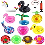 Mattelsen 12 Pcs Posavasos Hinchable de Flotador Unicornio & Flamingo con Bomba Colchonetas y Flotante Juguetes de Piscina Ocio Agua Diversión Juguetes Niños Adultos