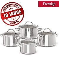 Prestige 10 Jahre Garantie Topfset – 4 Edelstahl-Kochtöpfe mit Glasdeckel – 16, 18, 20 und 24cm Induktionskochtöpfe mit Messskala – Rostfreies Töpfe Set – Spülmaschinen- und Ofenfest