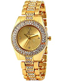 Jack Klein Golden Colour with Shiny Stone Metal Watch for Women