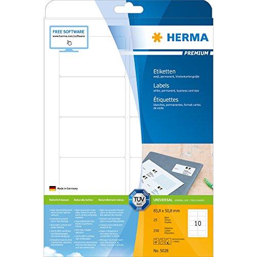 Herma 5028_ A4, 83,8 x 50,8 mm - Pack de 250 etiquetas, A4, 83.8 x 50.8 mm, color blanco