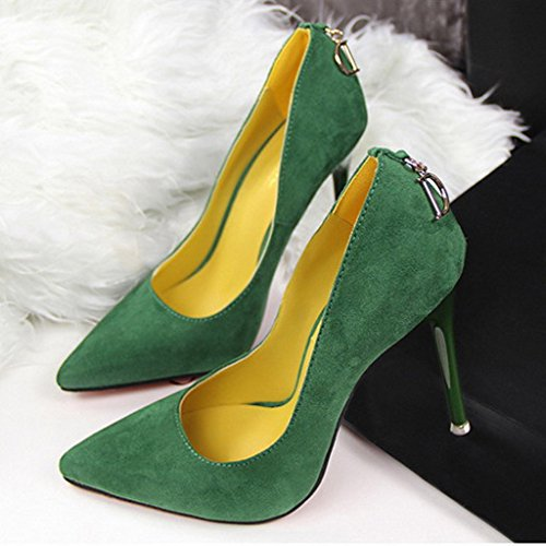 Minetom Minetom Donna Scarpe Col Tacco Stiletto Scamosciato Semplice Pump Shoes Elegante Scarpe Con Tacco Décolleté Scarpe Verde