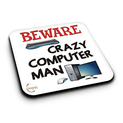 er485BEWARE Crazy Computer Man Neuheit Geschenk bedruckt MDF Untersetzer aus Holz - Mdf-computer