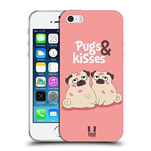 Head Case Designs Sich Wohlfühlen Piper Der Mops Soft Gel Hülle für Apple iPhone 6 / 6s And Kisses