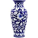 Blue Pottery Vases & Pots /Handmade & Hand Decorated Ceramic Pots & Vases/ Blue Cylindrical Vases & Pots /Use For Home/Kitchen/Office Décor/Personal & Corporate Gifting