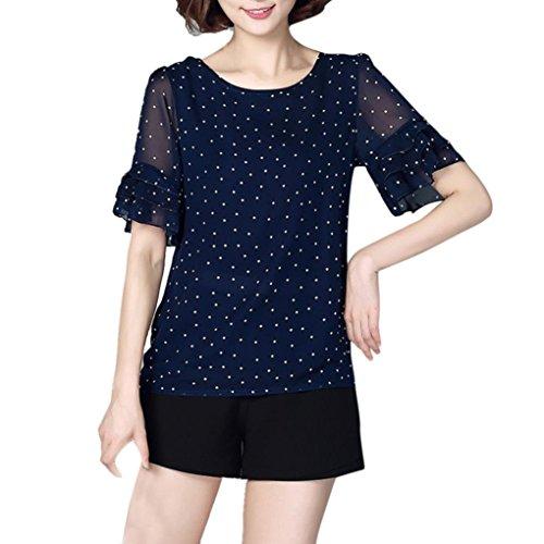 Hevoiok Damen Kurzarm-Shirt Oberteile Sexy Fashion Chiffon Polka Punkt Bluse, Neu Sommer Lässig Shirt Frauen Tops Große Größen S-3XL (Marine, XL)