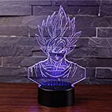 3D Lámpara de Escritorio Win-Y LED 7 del tacto del color de la lámpara del dormitorio del hogar decoración de la oficina para los niños y regalo de Navidad de cumpleaños (Dragon Ball A)
