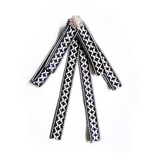 Mädchen Vintage Kragen Ethnischen Stil Trend Corsage Karierten Britischen Stil Pin Kostüm Zubehör Brosche Fliege, Blau (Farbe : Blau)