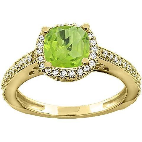14ct oro anillo de compromiso de diamante de Halo lazulí Natural de amortiguador de 7 mm, Tamaños J -
