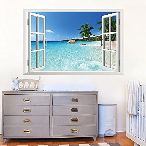 ufengke 3D Paysage Dehors de la Fenêtre Seascape Bleu Stickers Muraux, Salle de Séjour Chambre À Coucher Autocollants Amovibles