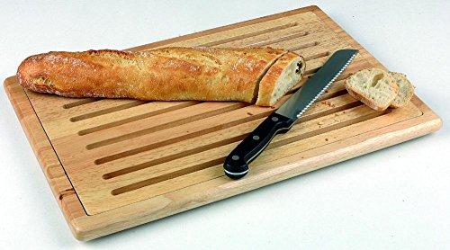 APS Brotschneidebrett 47,5 x 32 cm, Höhe 2 cm aus massivem Naturholz, mit herausnehmbarem Krümelfach auf 4 Antirutschfüßen stehend