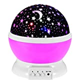 #2: BRANDX Imported Night Light Lamp, Sky Moon Star Projector ,360 Degree Rotation , 4 LED Bulbs, 3 Mode Light, Color Changing With USB Cable for Kids Baby Bedroom Gifts in Pink Color